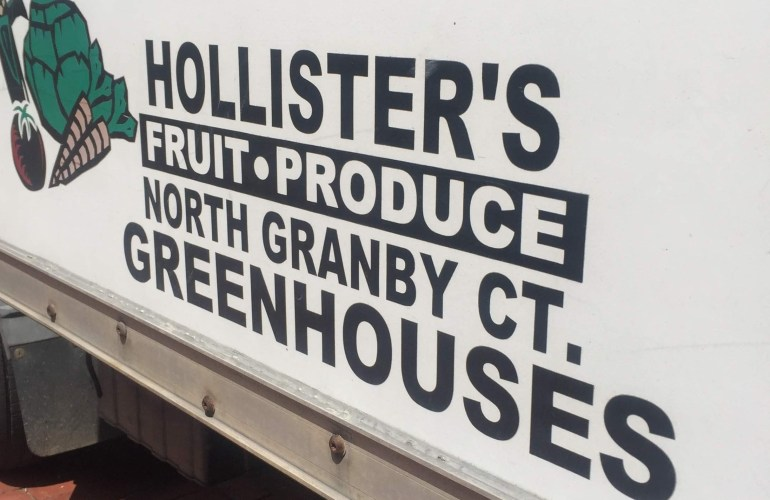 Hollister Farm truck fruit produce greenhouses North Granby Connecticut at the Hartford Farmers Market