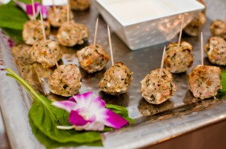 Basil Chicken and Mozzarella Meatballs with White Wine Dipping Sauce