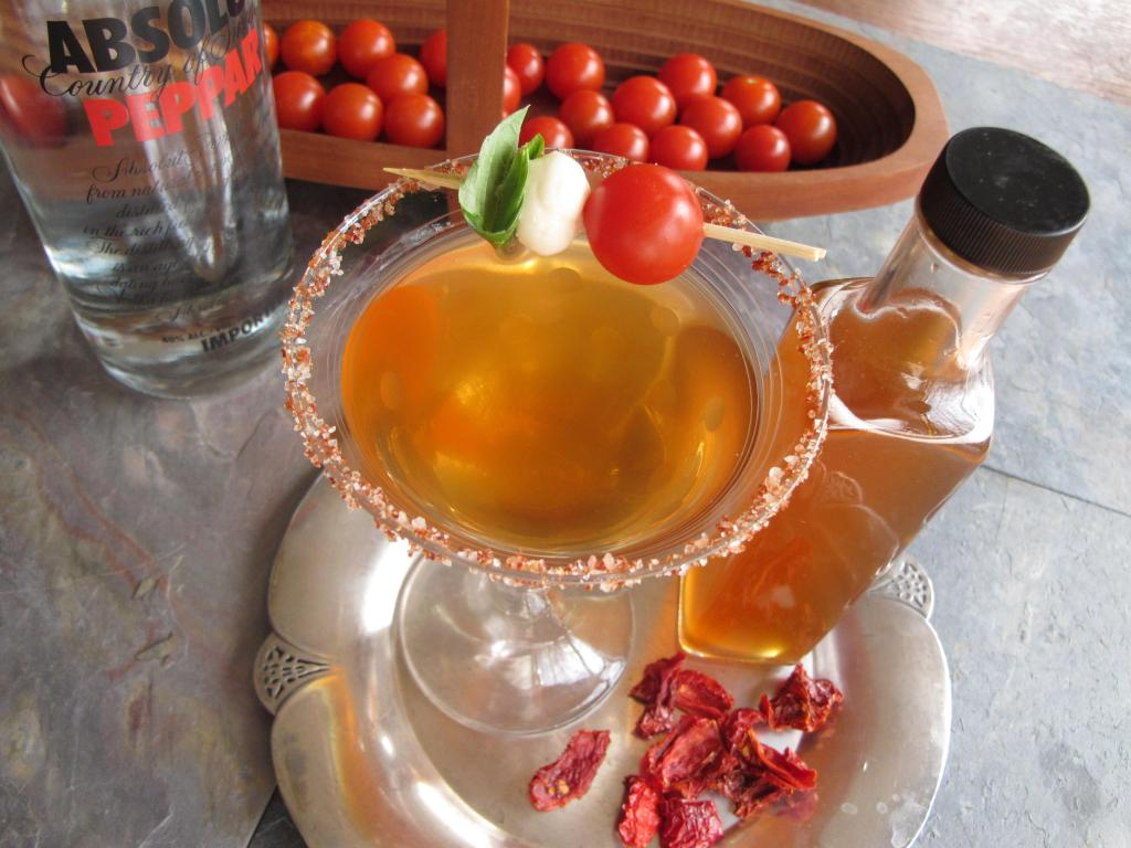 Tomato Martini made with heirloom tomato water