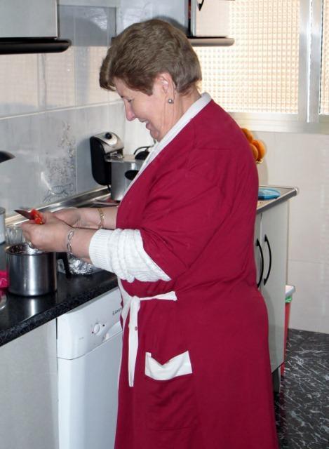 Senora making Gazpacho