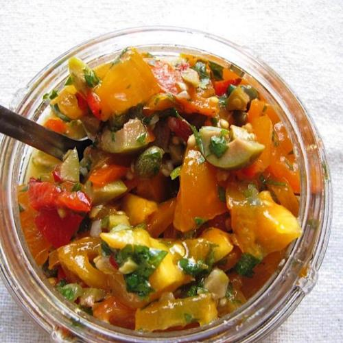 Heirloom tomato relish for brats, chops and steaks
