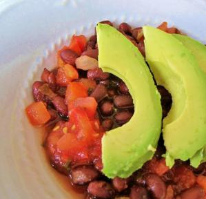 Avocados, beans and salsa for slow carb lunch