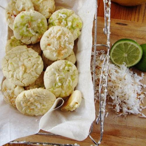Coconut Cookies with lime marmalade icing