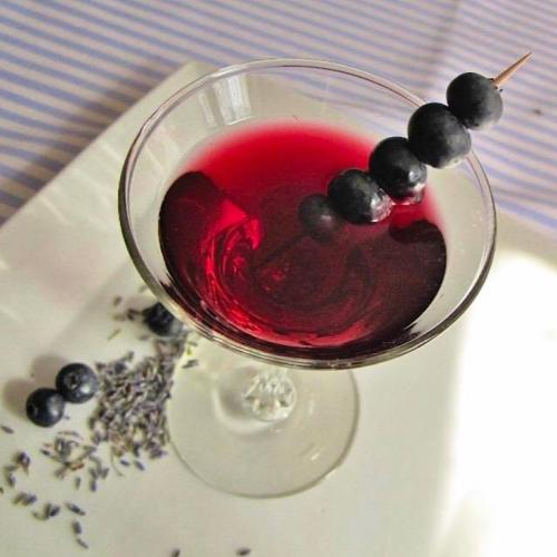 Blueberry martini made with blueberry tarragon shrub syrup