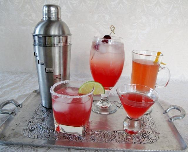 Range of cocktails and mocktails using cranberry shrub syrups