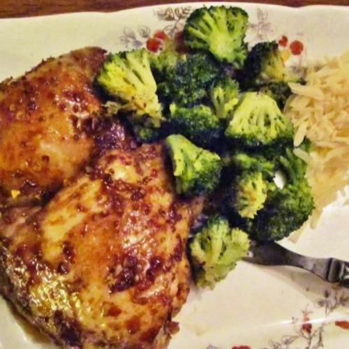 Low carb Asian chick thighs with side of broccoli
