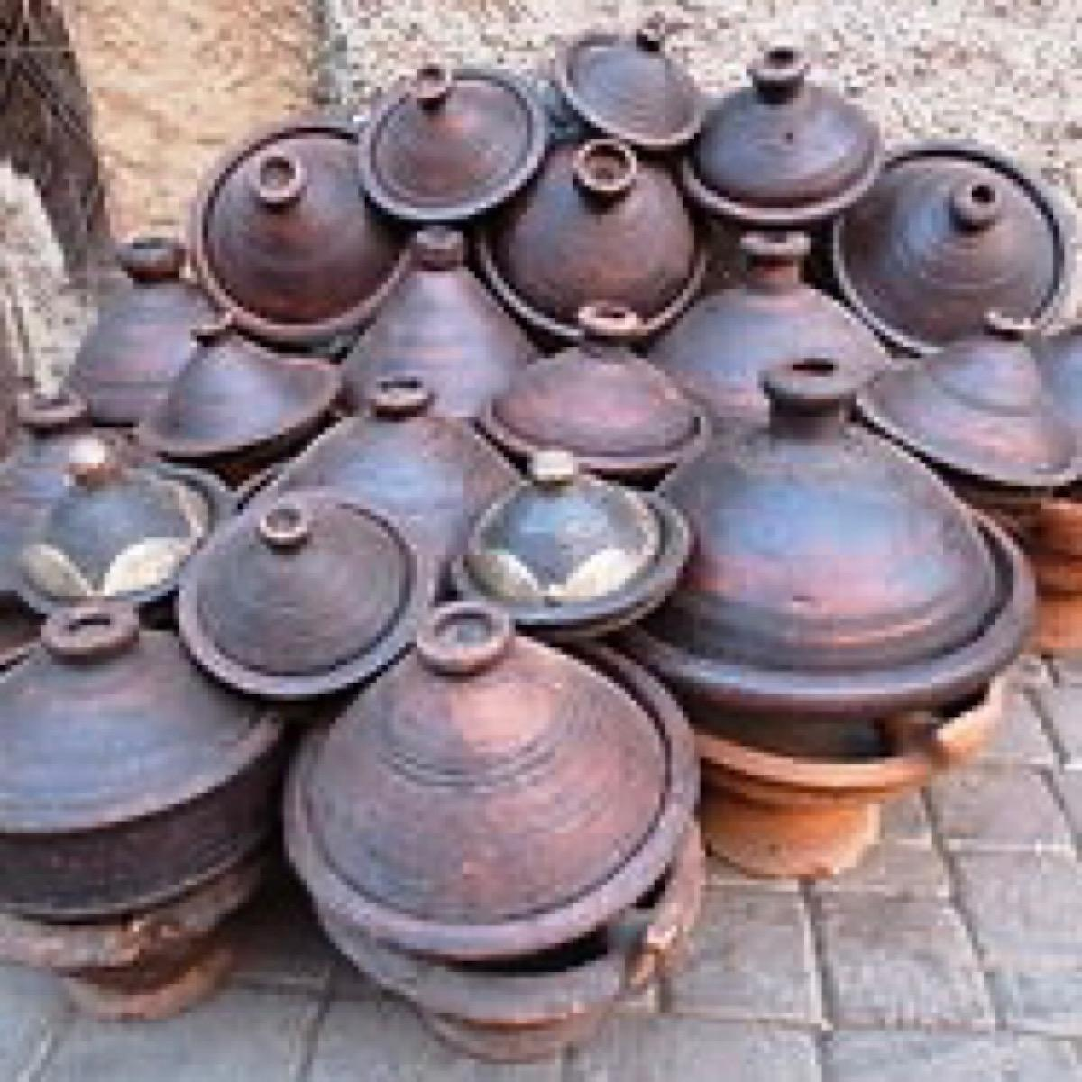 A pile of tagines on a street in Morocco