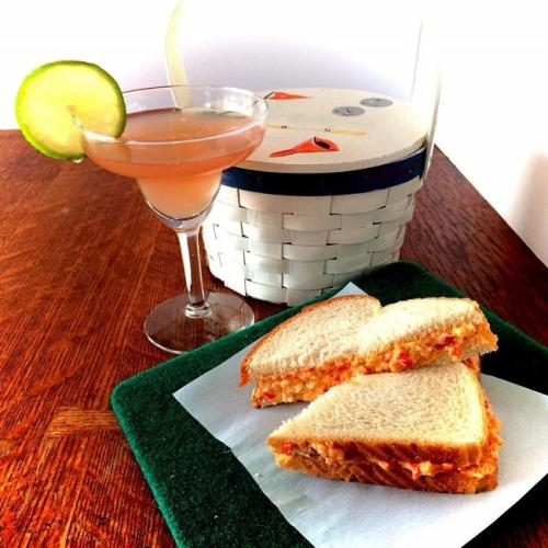 Azelea cocktail and classic pimento sandwich for the Masters