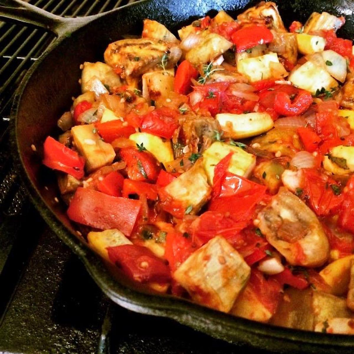 Low carb ratatouille dinner in a skillet