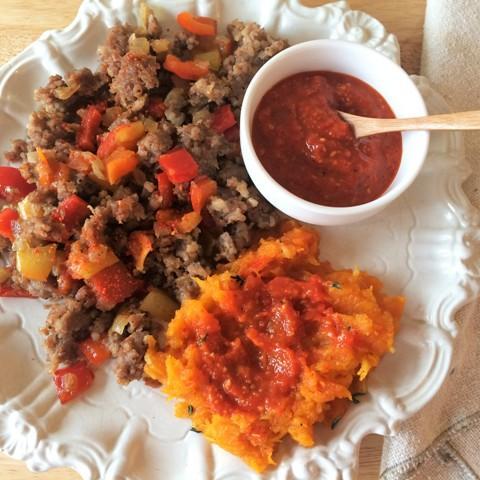 Heirloom squash with Romesco Sauce