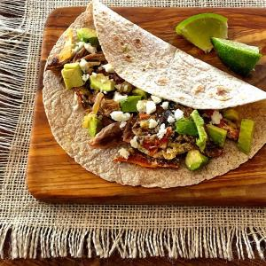 rajas tacos with store-bought low carb tortillas