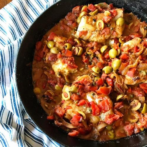 Low carb fish veracruz dinner in iron skillet