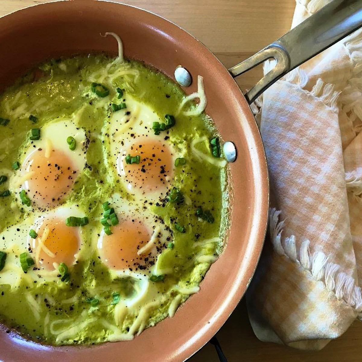 Low carb Mexican baked eggs in chile verde sauce, still in skillet