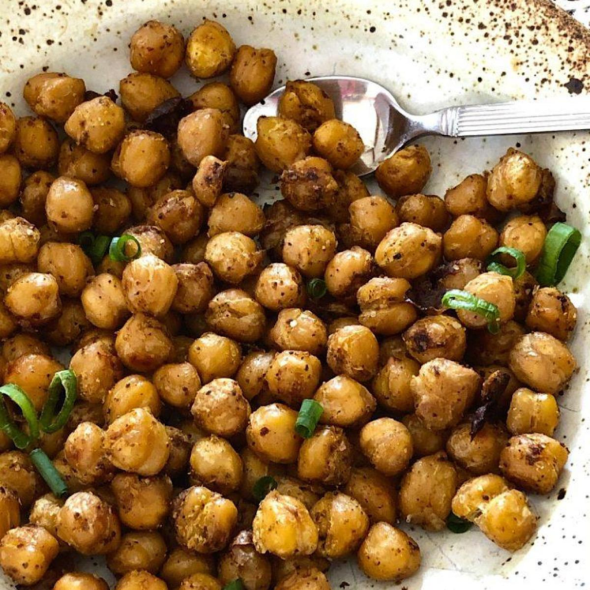 Roasted chickpeas with parmesan and herbs
