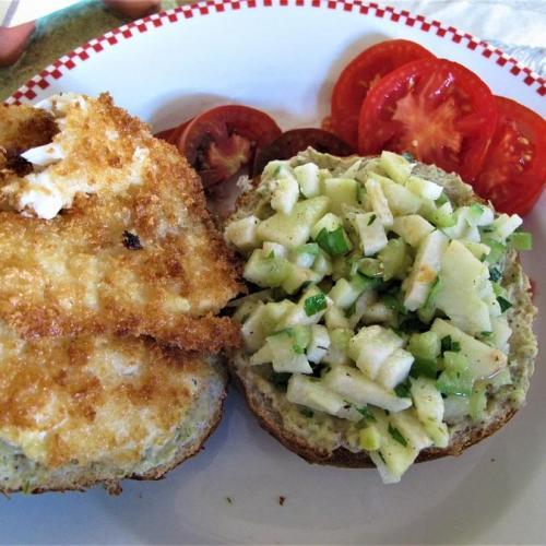 Tajin aioli & jicama slaw on a fish sandwich