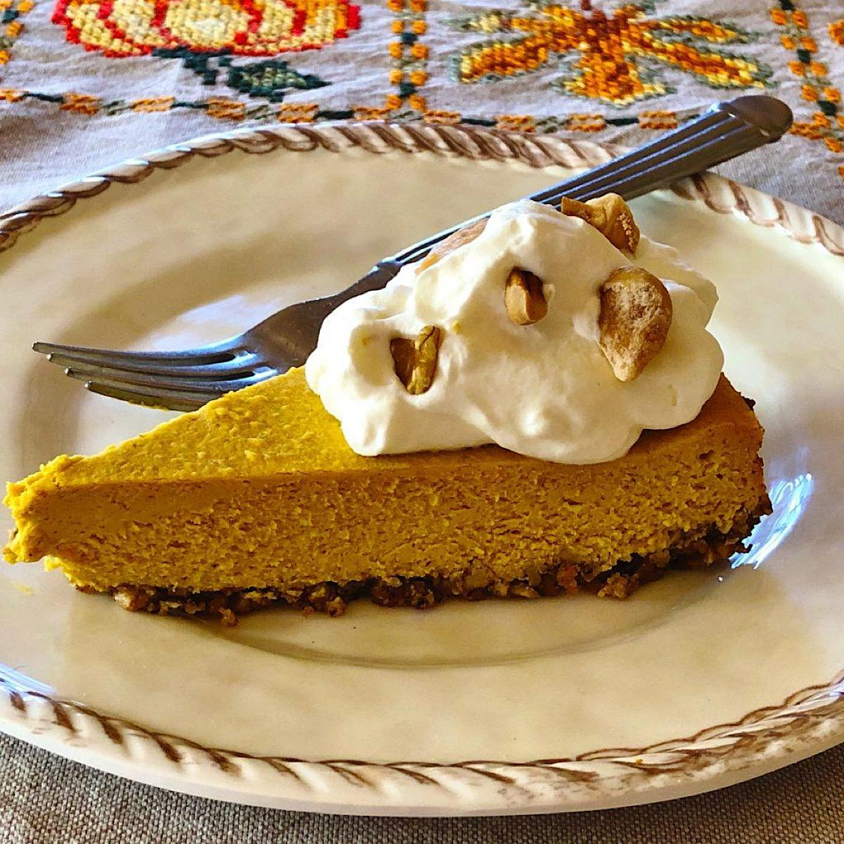 Low sugar, low carb slice of pumpkin cheesecake