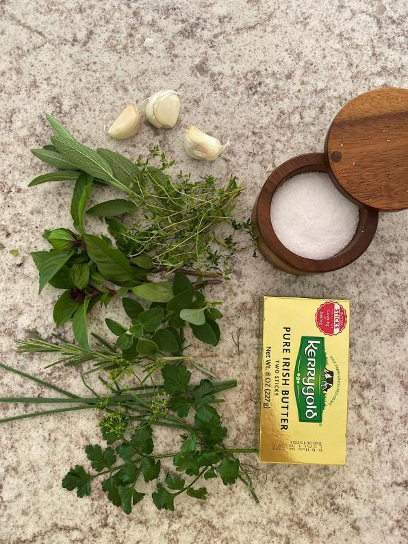 Ingredients for making herbal butters