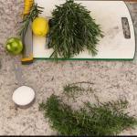 Ingredients for making Mediterranean herbal salt blend