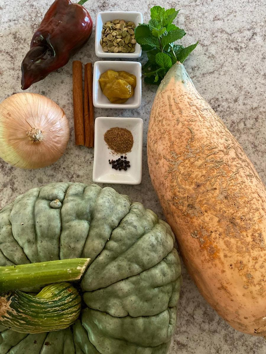 Ingredients for Winter Squash Ancho soup
