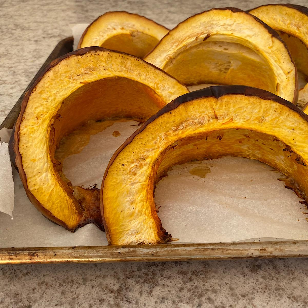 Slices of roasted heirloom Long Island Cheese squash