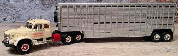 1955 Diamond T 921B With Sleeper with Wilson Livestock Trailer