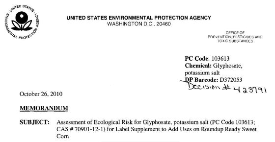 EPA Assessment Glyphosate Potassium Salt1