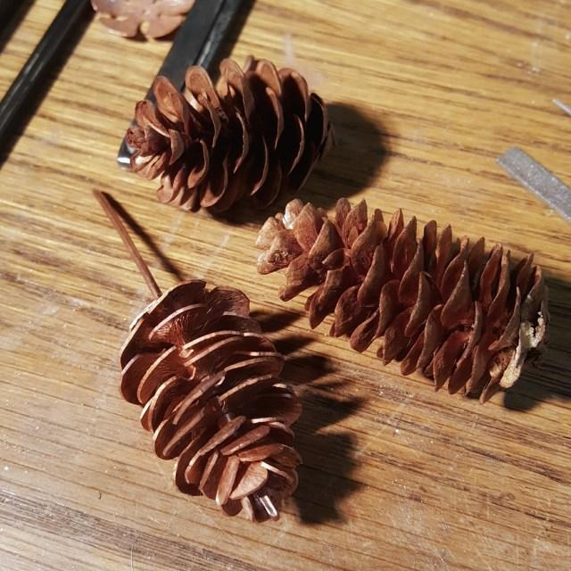 Copper spruce pine cone