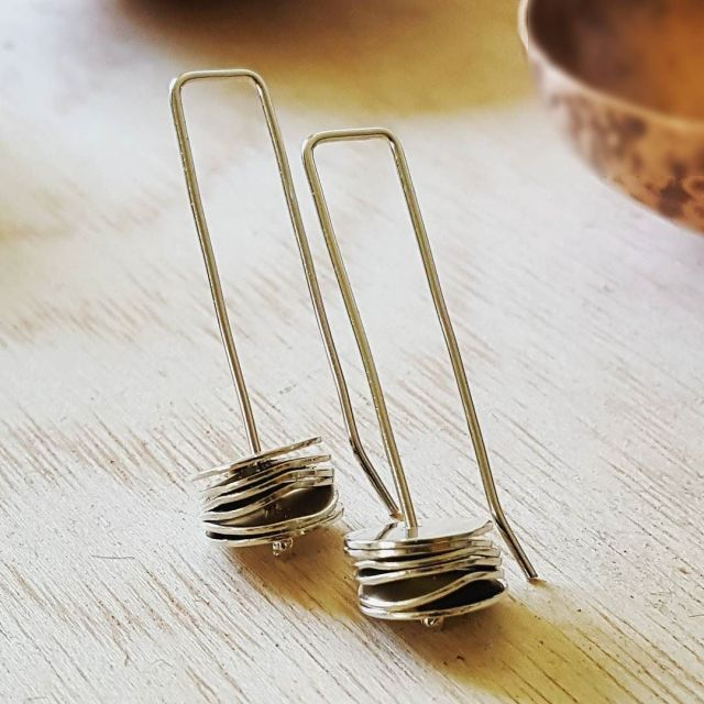 An image of the silver stack earrings