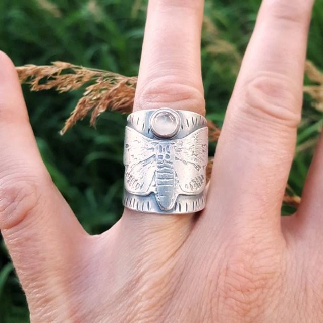 Silver moth ring
