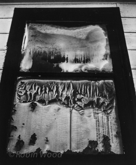 Abstract frost patterns in a window at Creamers Field - 120mm Illford film.