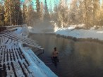 Liard River Hotsprings is a mandatory stop along the Alaska-Canada Highway in winter or summer.
