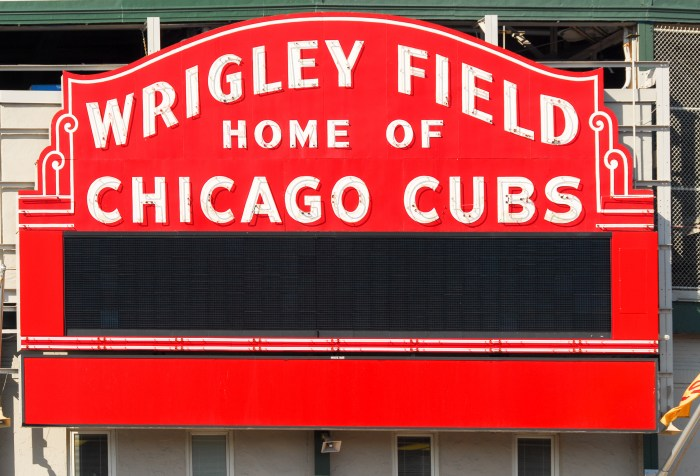 Wrigley Field red marquee: Wrigley Field Home of Chicago Cubs