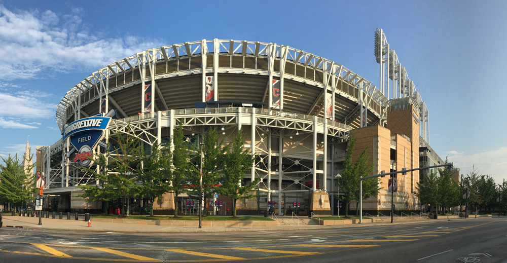 CLEVELAND, OHIO/UNITED STATES- JULY 10, 2018: A View of Progressive Field in Cleveland