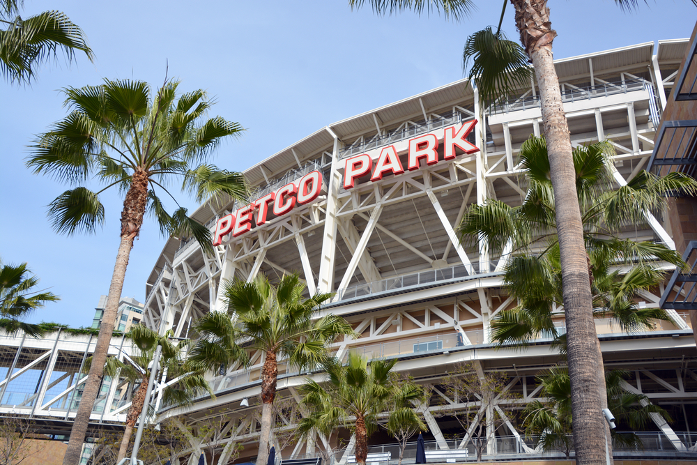 Sign at Petco Park Stadium, home of the Padres baseball team, framed by palm trees