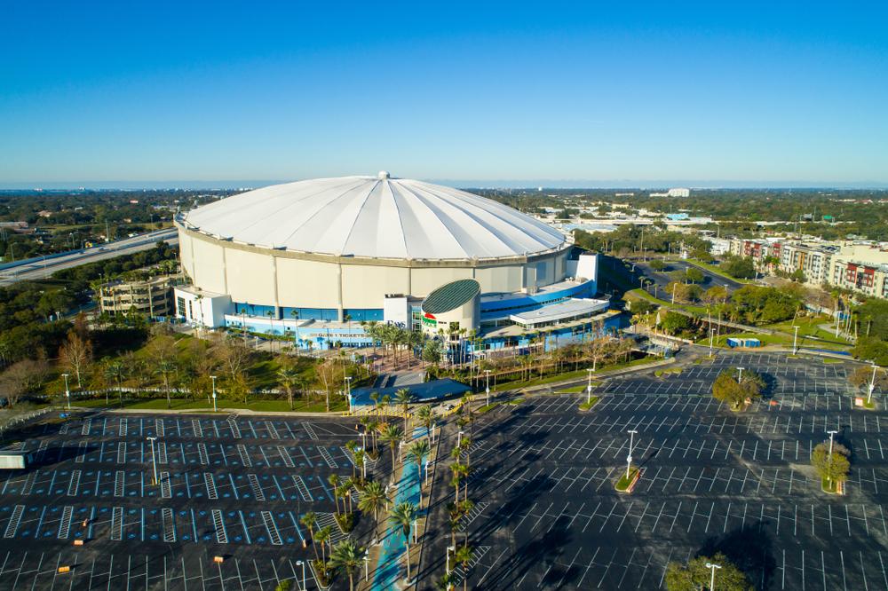 FEBRUARY 15, 2018: Aerial wide angle image Tropicana Field St Petersburg Florida USA