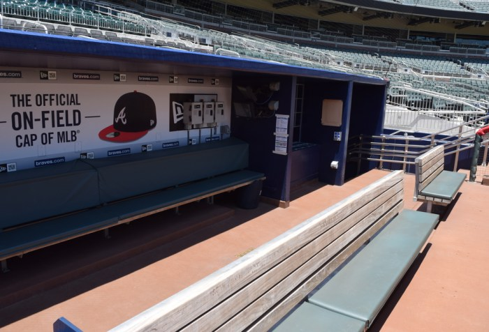Empty Dugout at SunTrust Park, now known as Truist Park, in Atlanta, Georgia Home of the Atlanta Braves