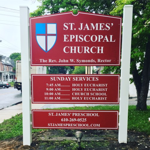 St. James' Episcopal Church Post and Panel Sign