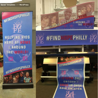 Find Hope Philly custom digitally printed and branded banner stand