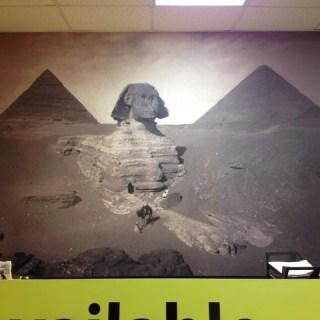 Sphinx and pyramids digitally printed interior wall mural