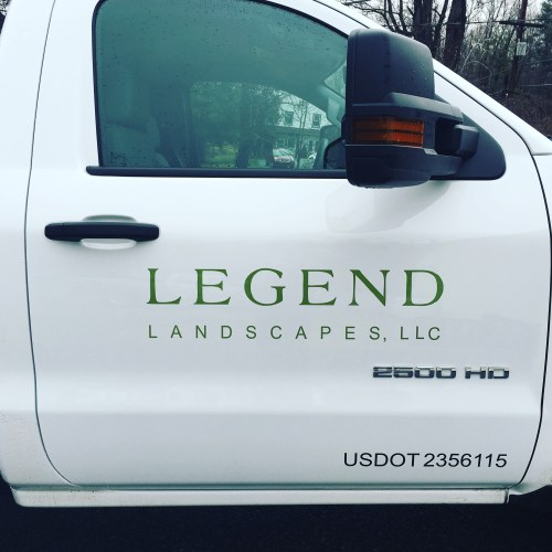 Legend Landscaping vinyl door logo and lettering