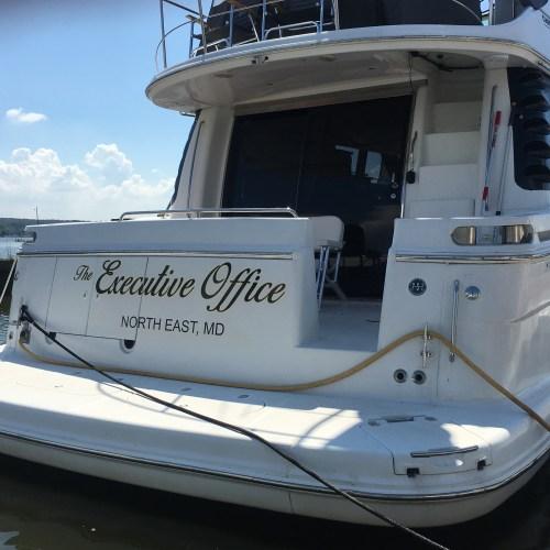 Custom vinyl boat lettering