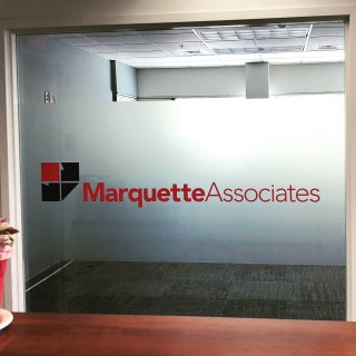 Window with Frosted Vinyl With Logo