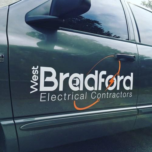 West Bradford Electrical Contractors vinyl door lettering and logo