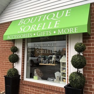 Boutique Sorelle custom branded shed awning
