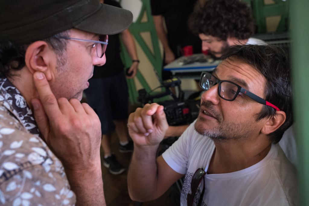 Zeca Baleiro e Neto Borges no set de filmagem. Foto: Paula Cinquetti/ Divulgação