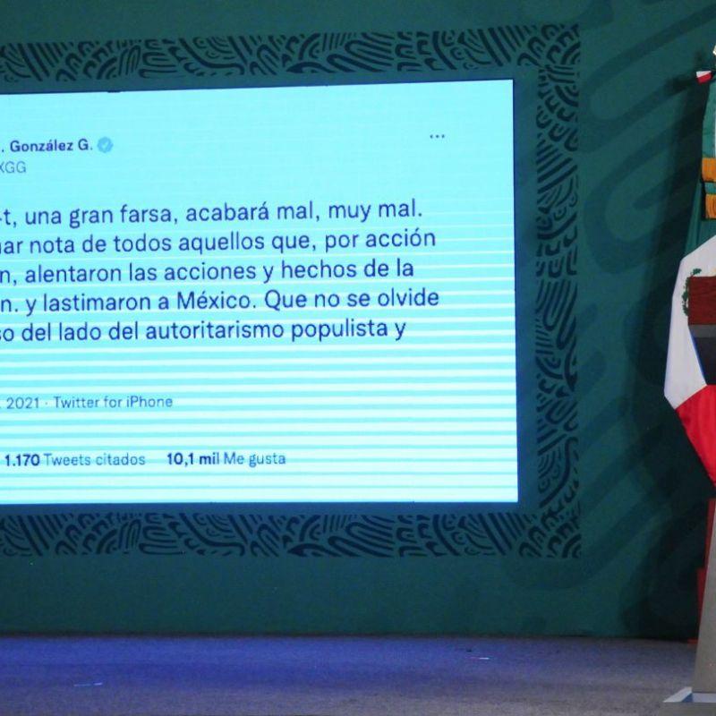 """Ante un tweet que publicó Claudio X. González, AMLO prende fuego y se lanza contra el empresario a quién le cuestiona su intención de elaborar su """"lista negra""""."""