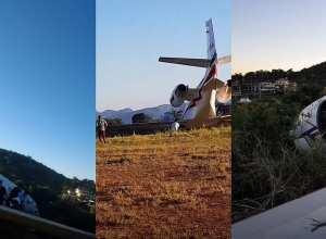 Postagens de Alok mostram como o avião ficou após a derrapagem (Instagram)