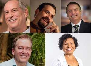 Candidatos definidos até agora: Ciro Gomes (PDT), Guilherme Boulos (PSOL), Jair Bolsonaro (PSL), Paulo Rabello de Castro (PSC) e Vera Lúcia (PSTU).