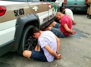 Três presos pela Polícia Militar no Fidélis - foto da PMSC