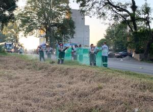 Trabalhadores fazem roçada na Rua Engenheiro Udo Deeke - foto da Prefeitura de Blumenau